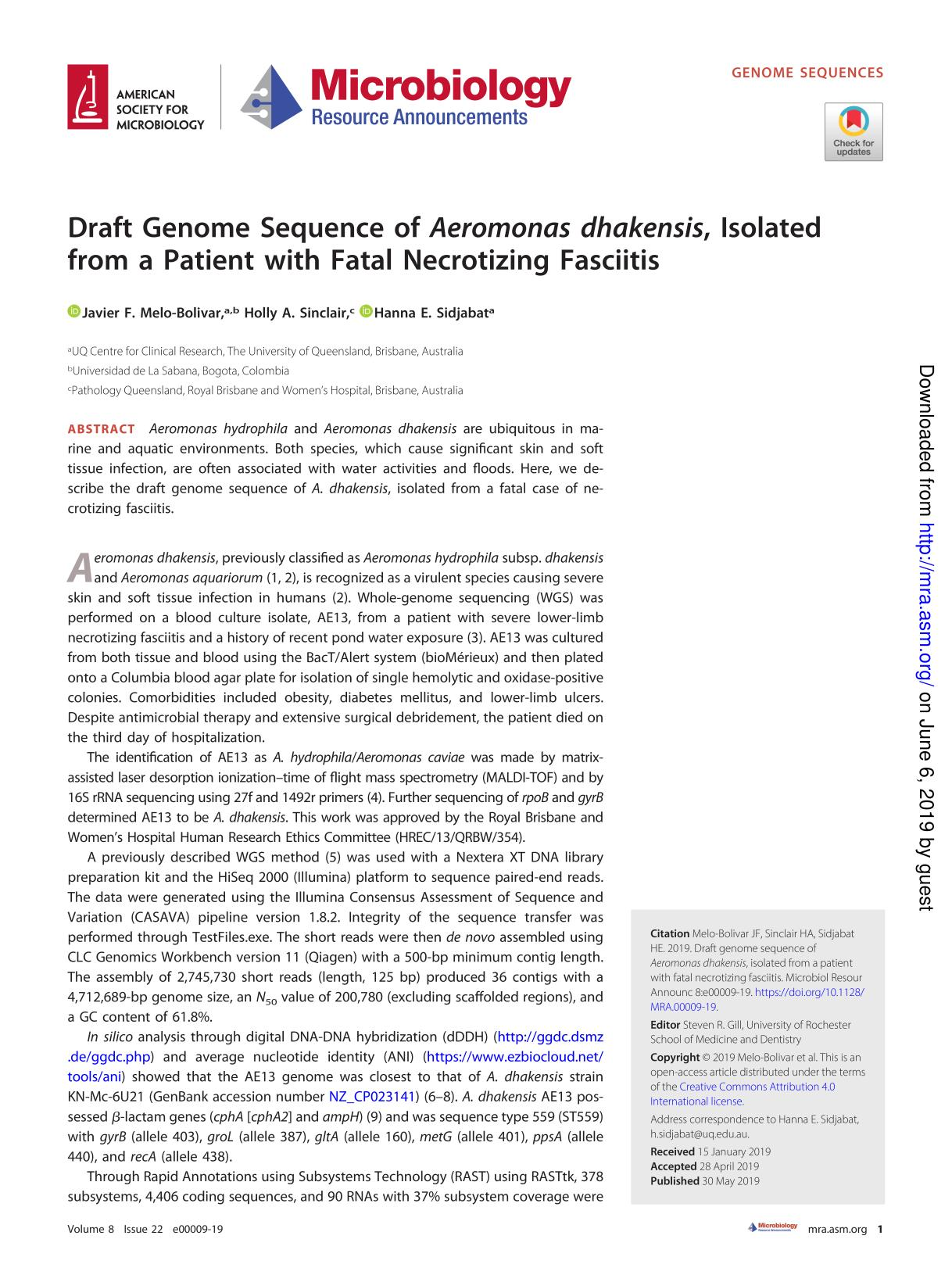 Book cover Draft Genome Sequence of