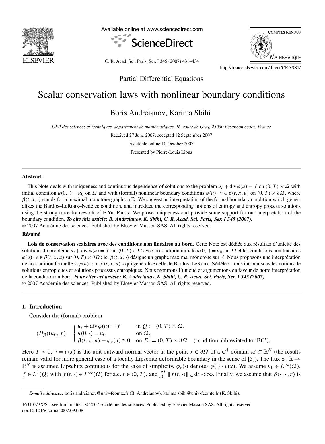 หน้าปก Scalar conservation laws with nonlinear boundary conditions