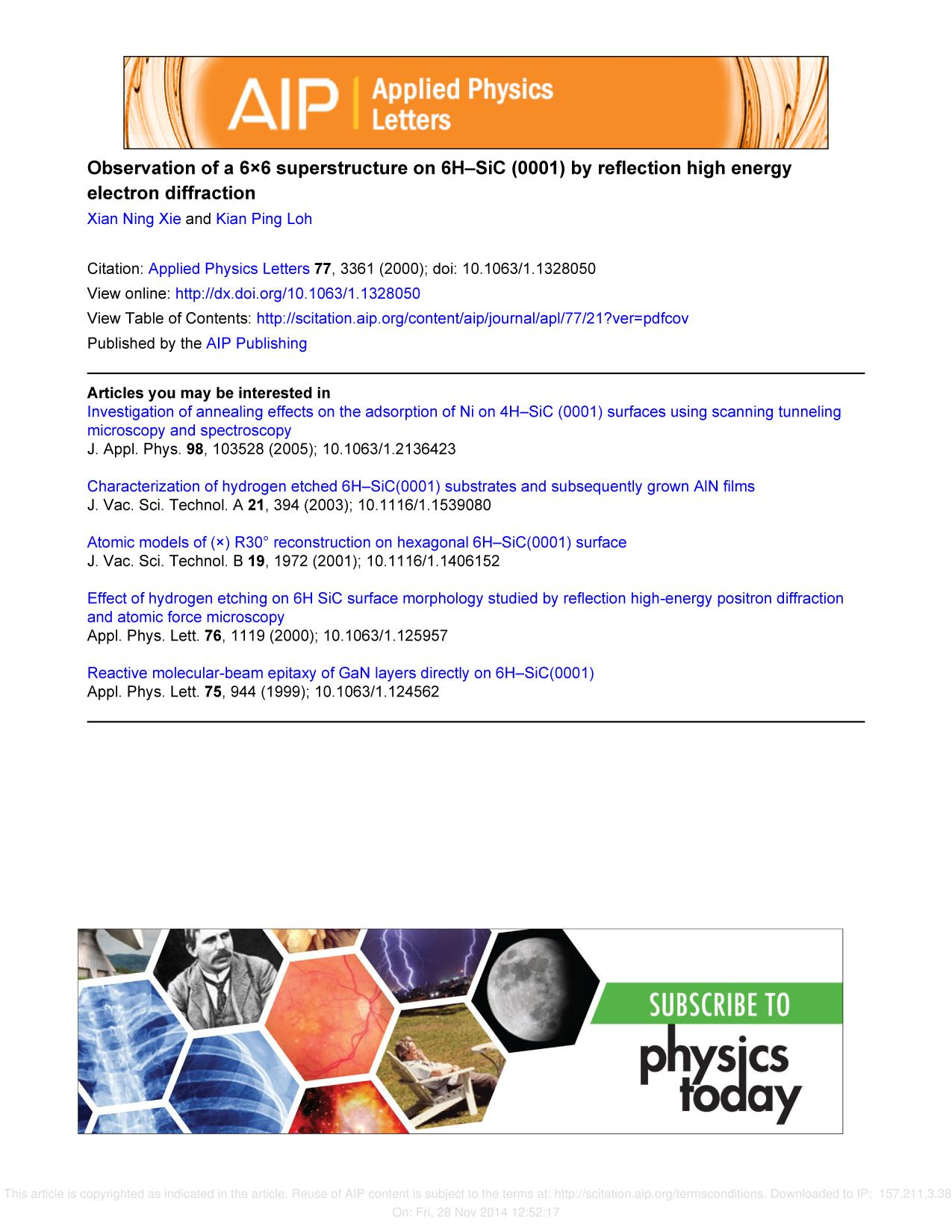 Book cover Observation of a 6×6 superstructure on 6H–SiC (0001) by reflection high energy electron diffraction