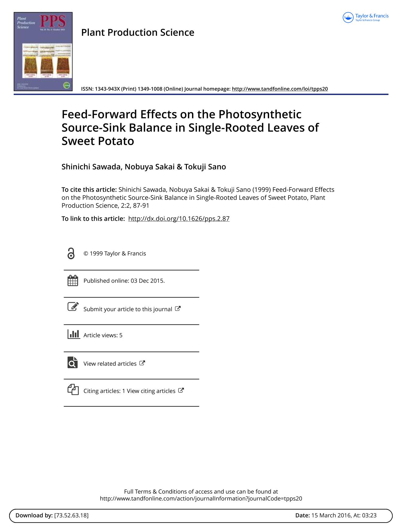 Book cover Feed-Forward Effects on the Photosynthetic Source-Sink Balance in Single-Rooted Leaves of Sweet Potato.