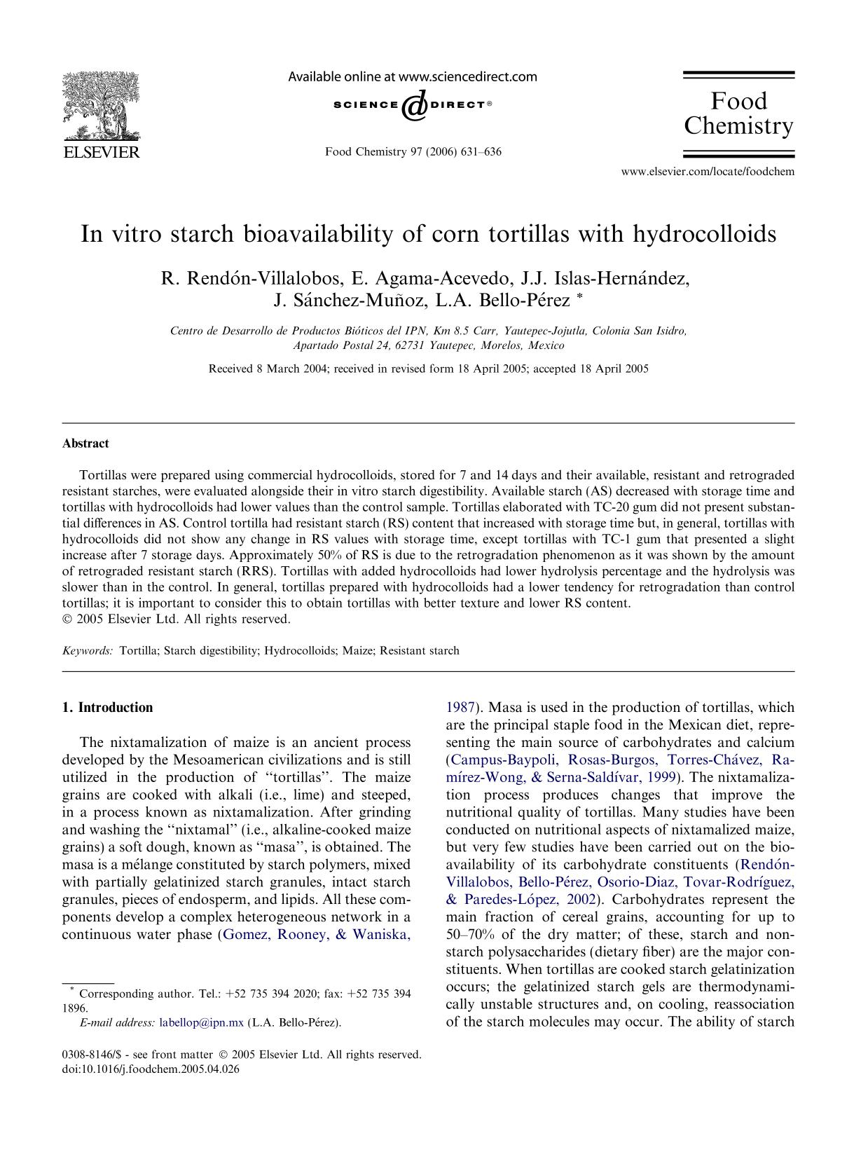 Book cover In vitro starch bioavailability of corn tortillas with hydrocolloids