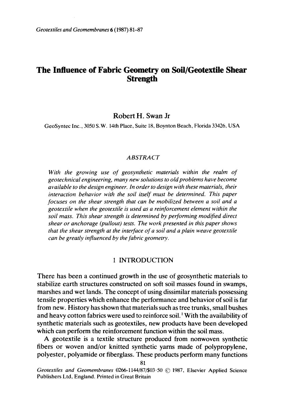 Book cover The influence of fabric geometry on soil/geotextile shear strength