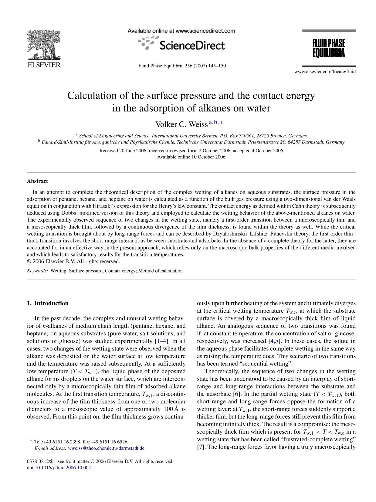 Book cover Calculation of the surface pressure and the contact energy in the adsorption of alkanes on water