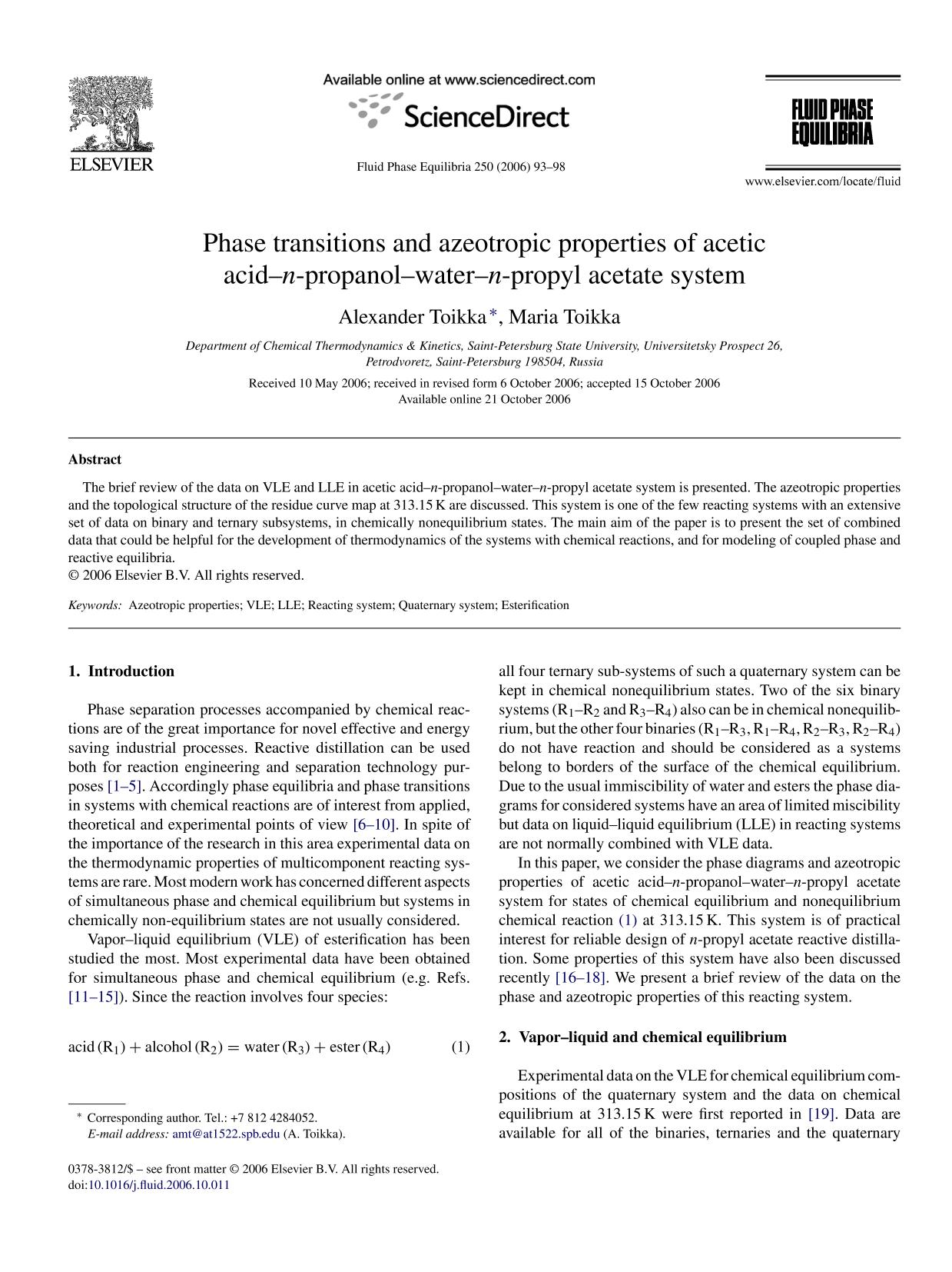 Portada del libro Phase transitions and azeotropic properties of acetic acid–n-propanol–water–n-propyl acetate system
