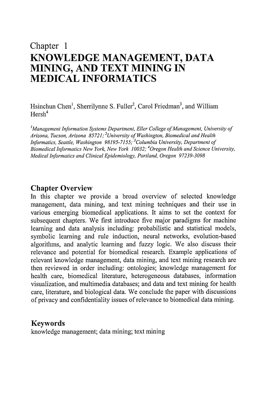 Book cover [Integrated Series in Information Systems] Medical Informatics Volume 8 || Knowledge Management, Data Mining, and Text Mining in Medical Informatics