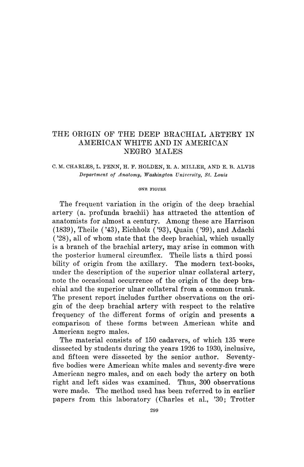 Book cover The origin of the deep brachial artery in American white and in American negro males