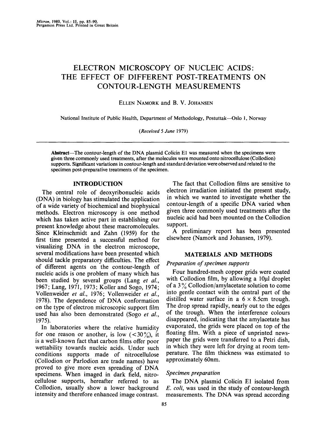 Book cover Electron microscopy of nucleic acids: The effect of different post-treatments on contour-length measurements