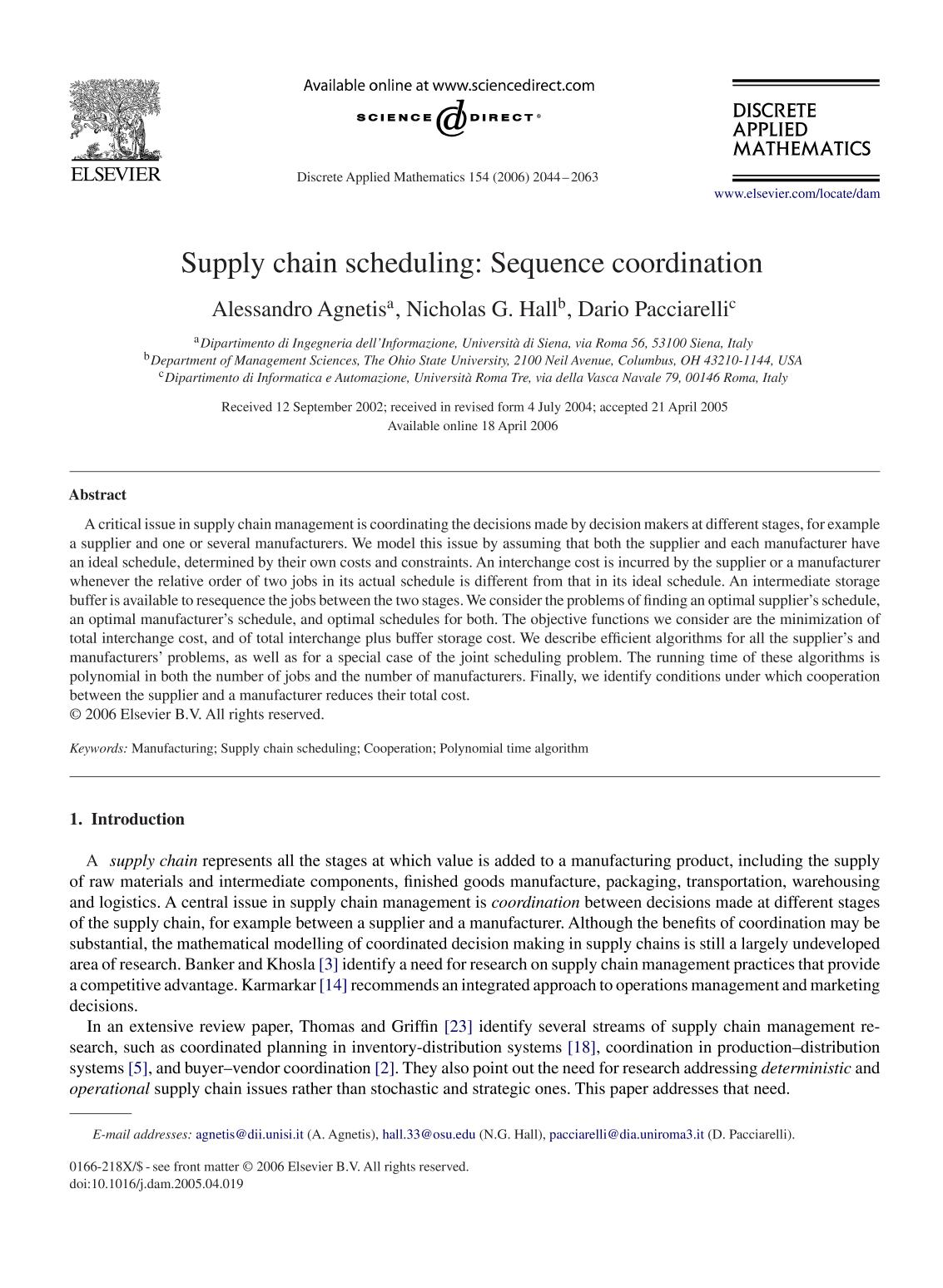 Book cover Supply chain scheduling: Sequence coordination