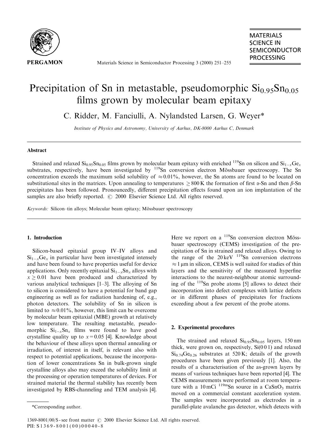Kover buku Precipitation of Sn in metastable, pseudomorphic Si0.95Sn0.05 films grown by molecular beam epitaxy
