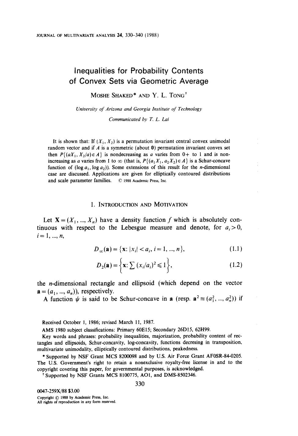 Обложка книги Inequalities for probability contents of convex sets via geometric average