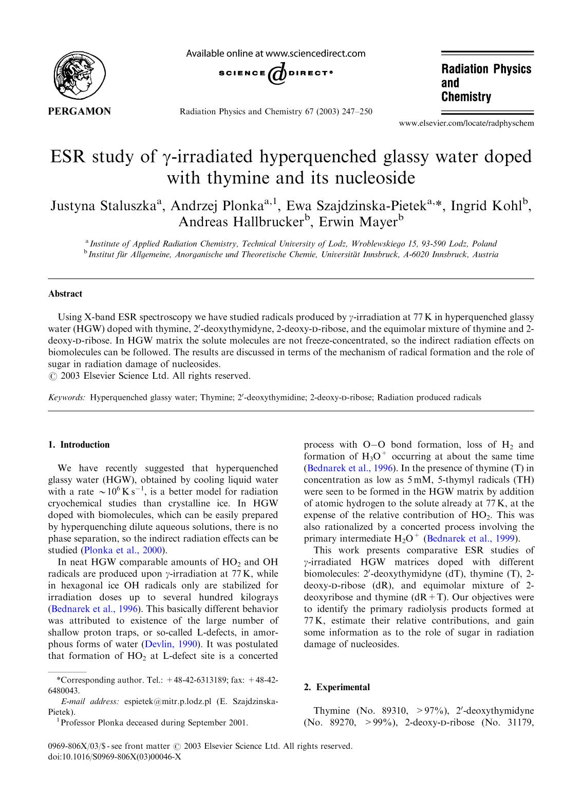 Book cover ESR study of γ-irradiated hyperquenched glassy water doped with thymine and its nucleoside