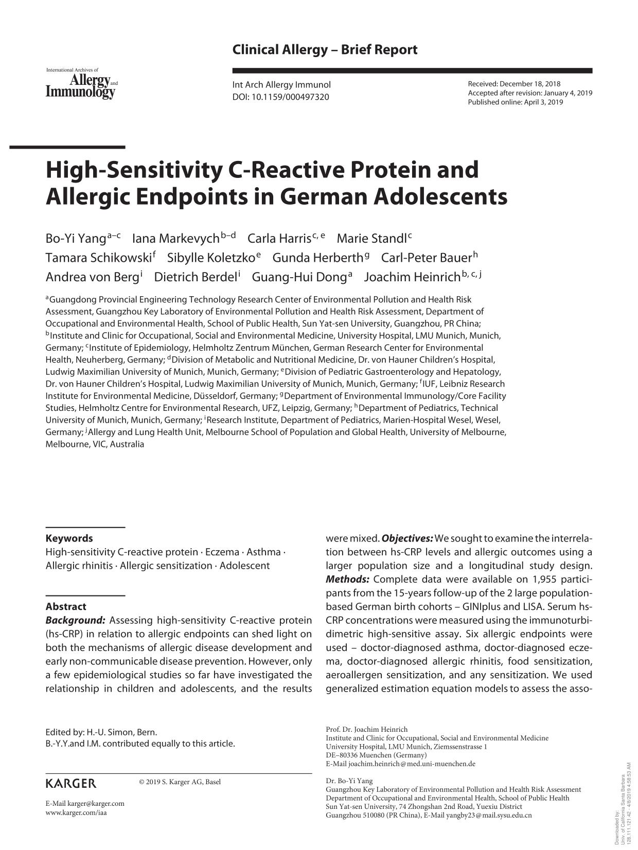 Book cover High-Sensitivity C-Reactive Protein and Allergic Endpoints in German Adolescents