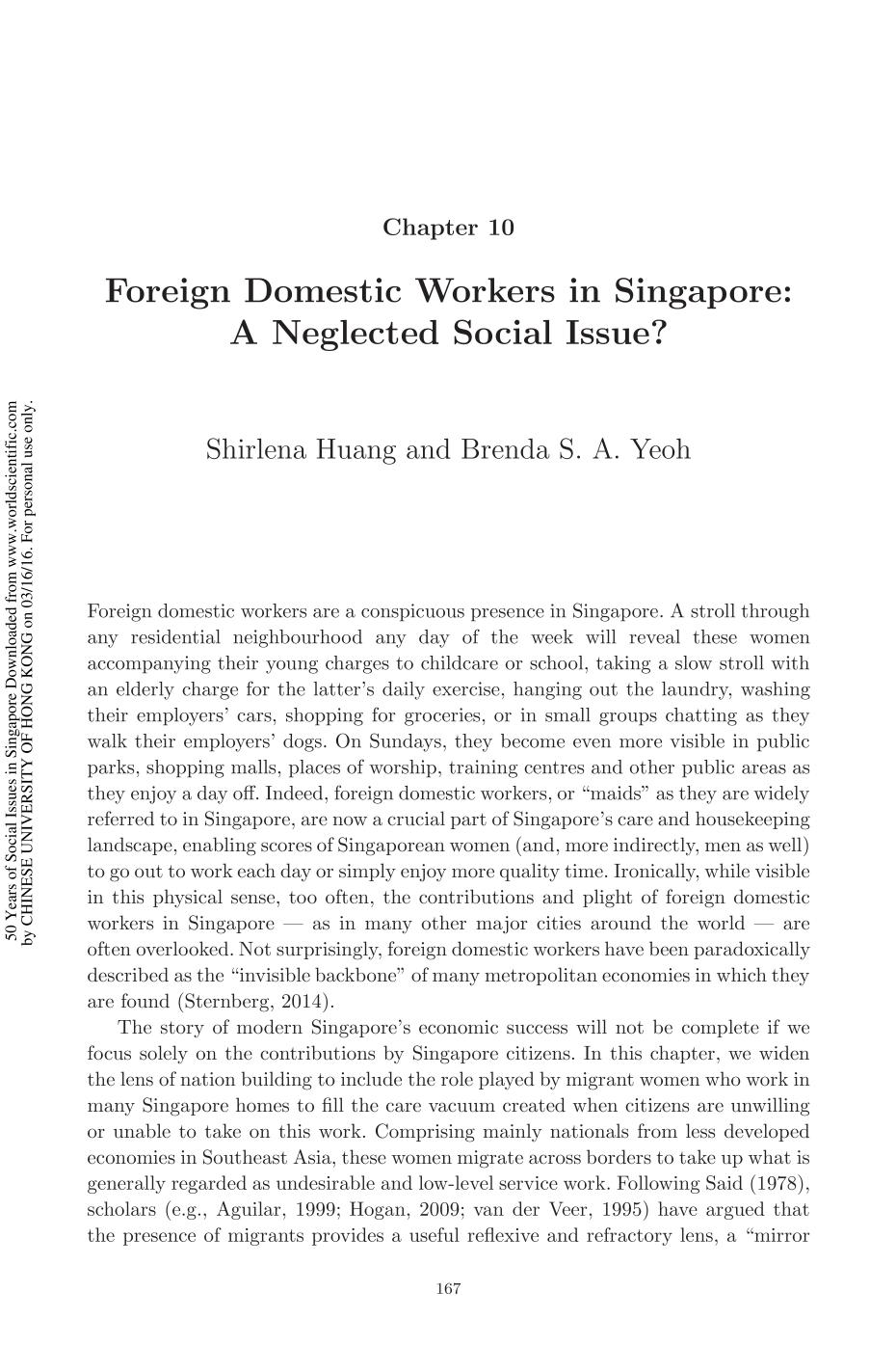 Book cover 50 Years of Social Issues in Singapore || Foreign Domestic Workers in Singapore: A Neglected Social Issue?