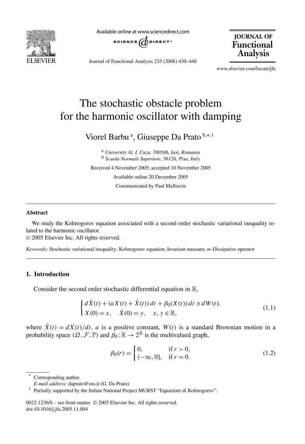 Book cover The stochastic obstacle problem for the harmonic oscillator with damping