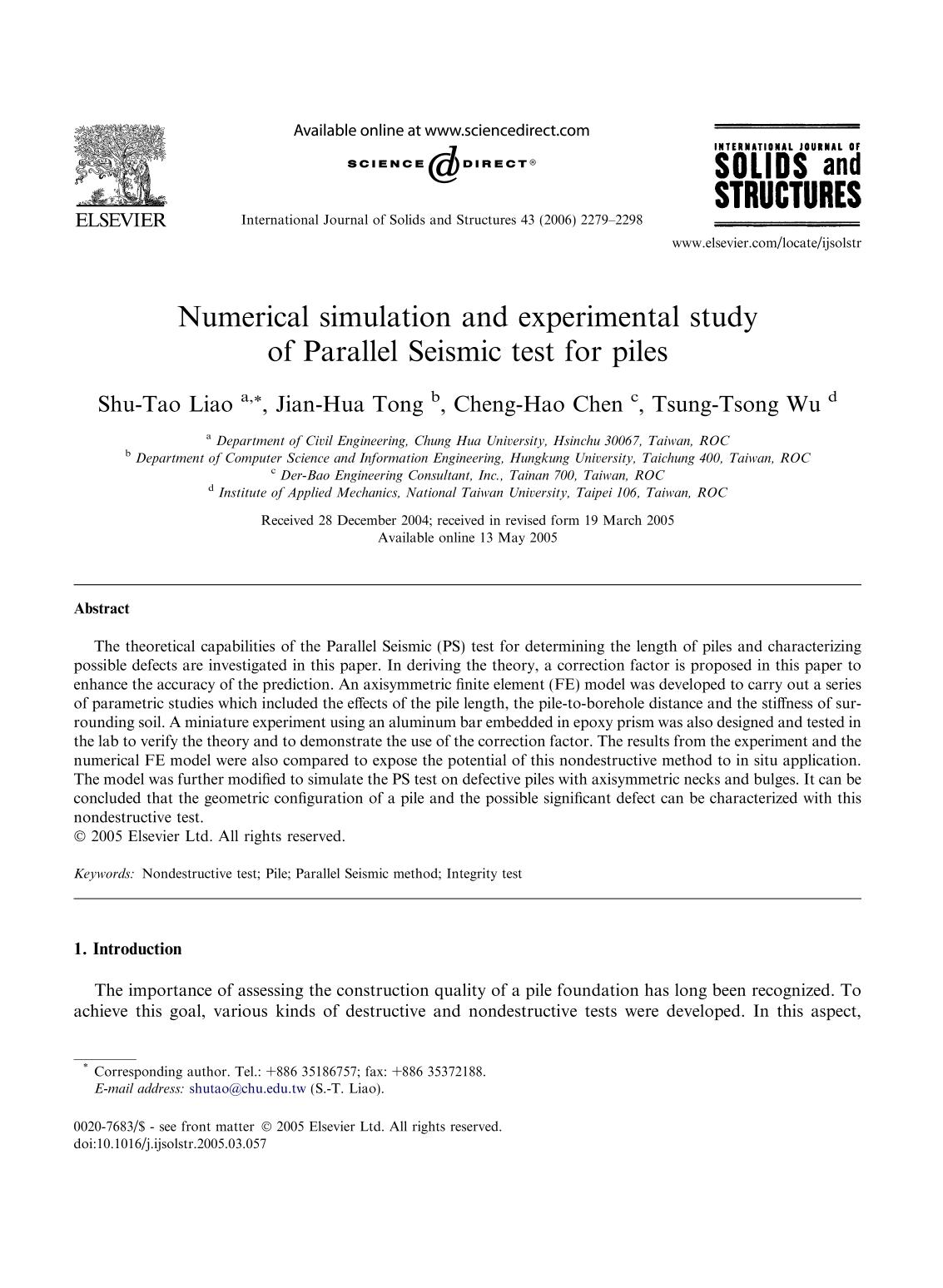 Обкладинка книги Numerical simulation and experimental study of Parallel Seismic test for piles