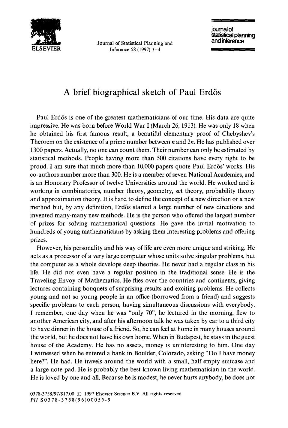 Book cover A brief biographical sketch of Paul Erdős