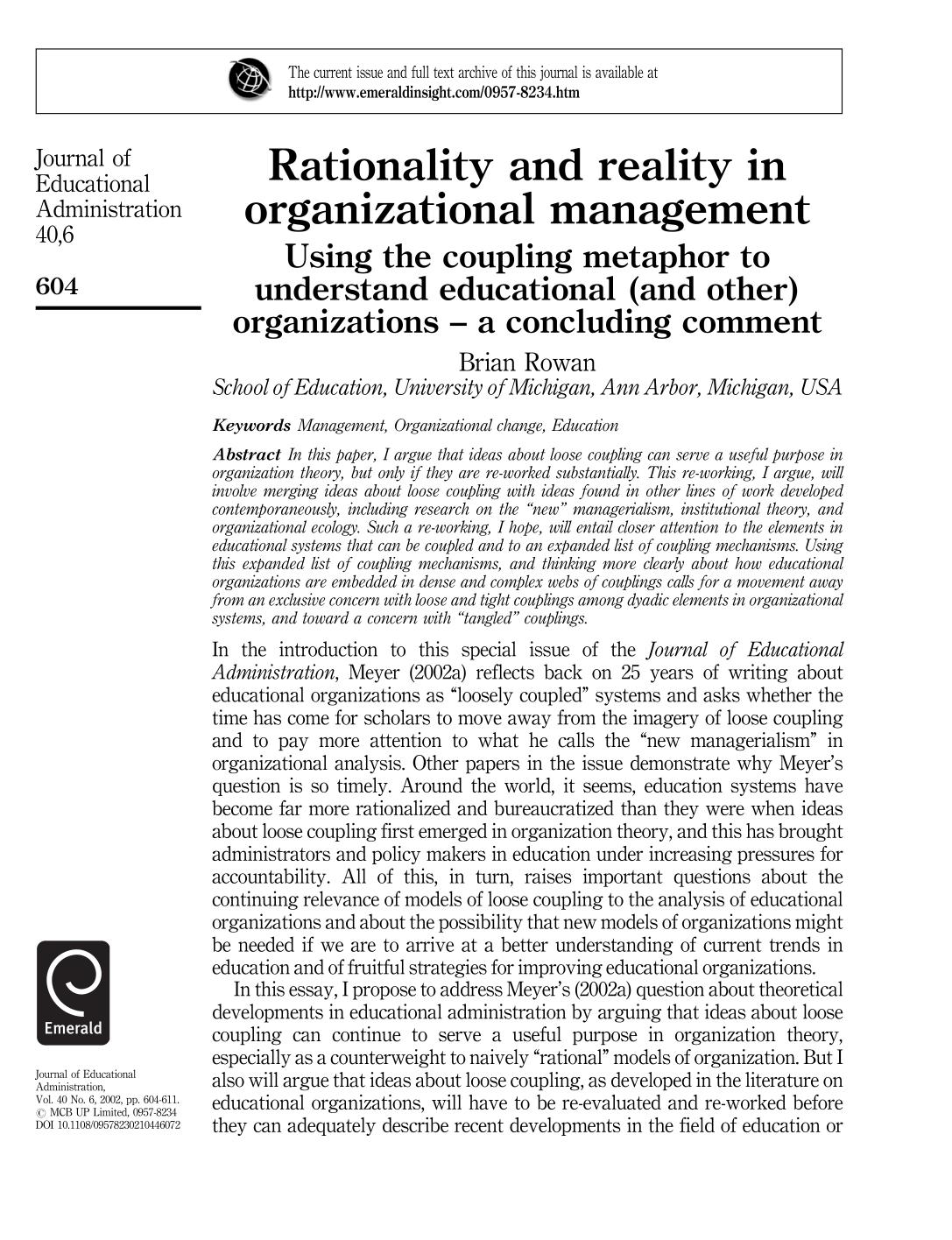 Book cover Rationality and reality in organizational management