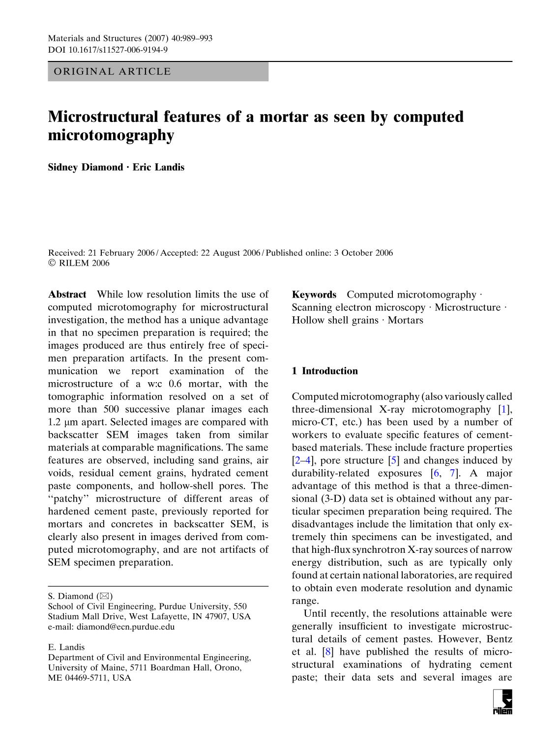 Book cover Microstructural features of a mortar as seen by computed microtomography