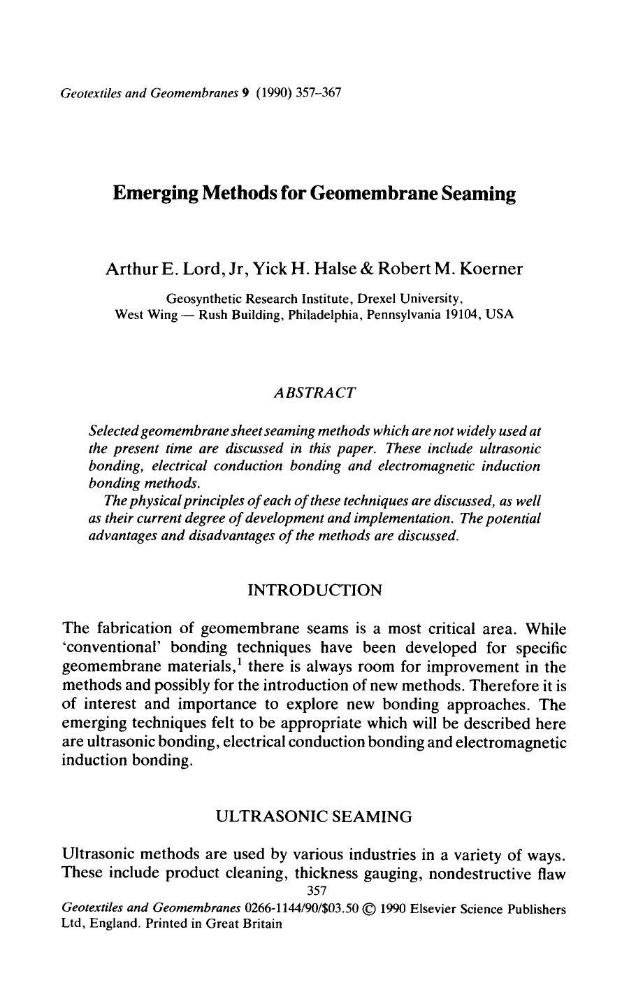 Book cover Emerging methods for geomembrane seaming