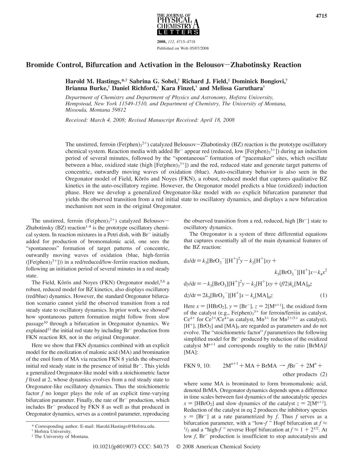 capa de livro Bromide Control, Bifurcation and Activation in the Belousov−Zhabotinsky Reaction