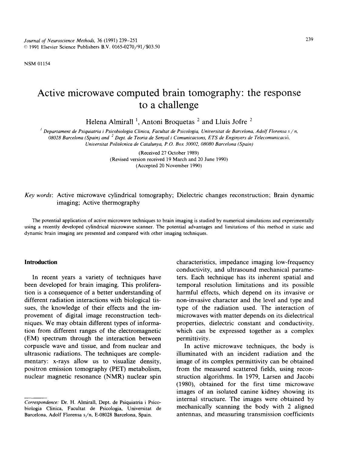 Book cover Active microwave computed brain tomography: The response to a challenge