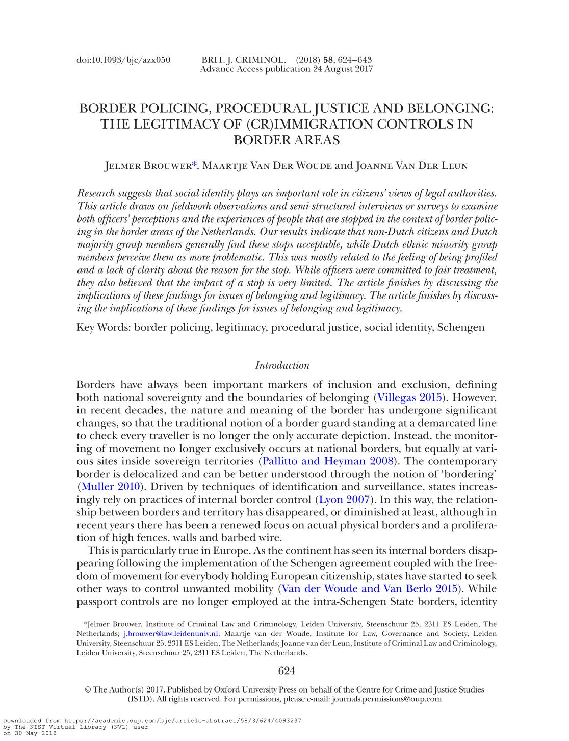 Book cover Border Policing, Procedural Justice and Belonging: the Legitimacy of (cr)Immigration Controls in Border areas