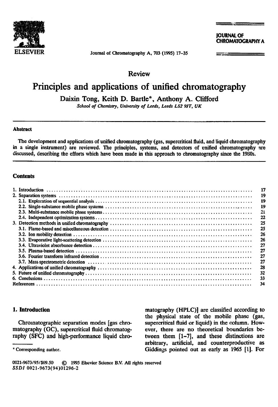 Book cover Principles and applications of unified chromatography