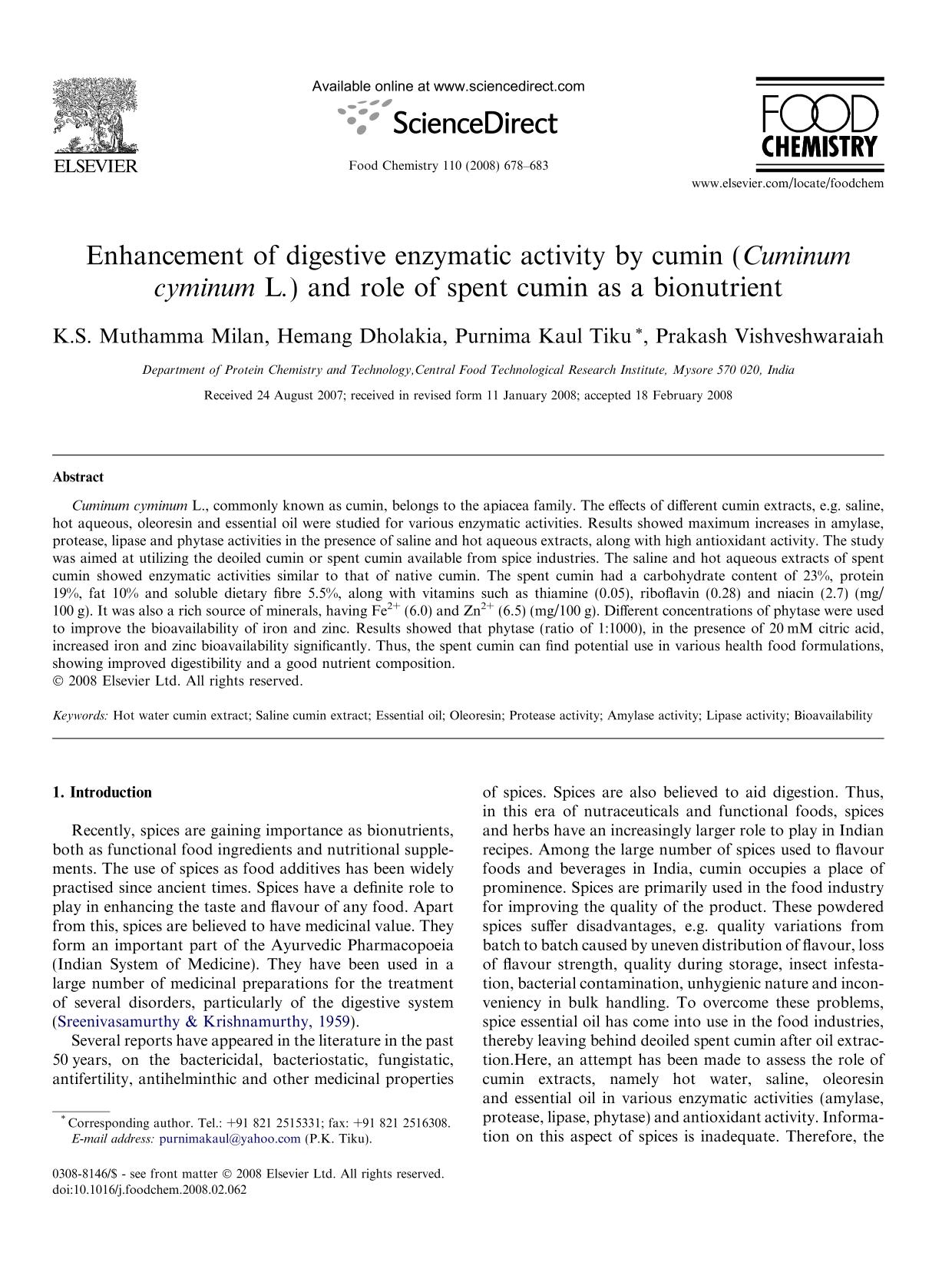 Book cover Enhancement of digestive enzymatic activity by cumin (Cuminum cyminum L.) and role of spent cumin as a bionutrient