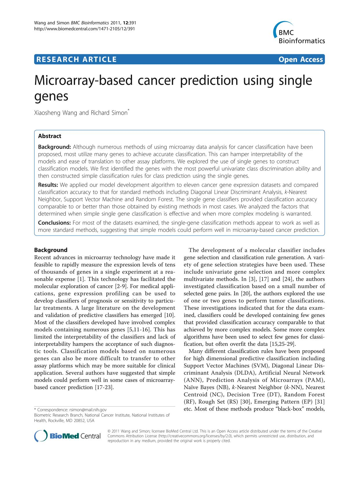 पुस्तक आवरण Microarray-based cancer prediction using single genes