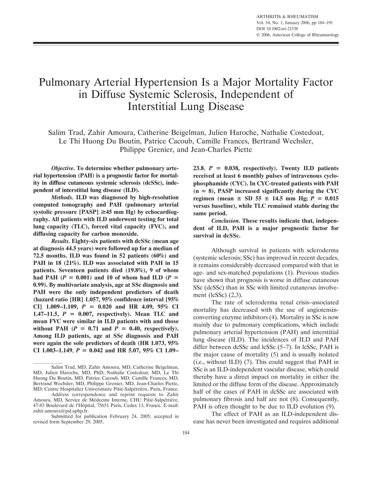Book cover Pulmonary arterial hypertension is a major mortality factor in diffuse systemic sclerosis, independent of interstitial lung disease