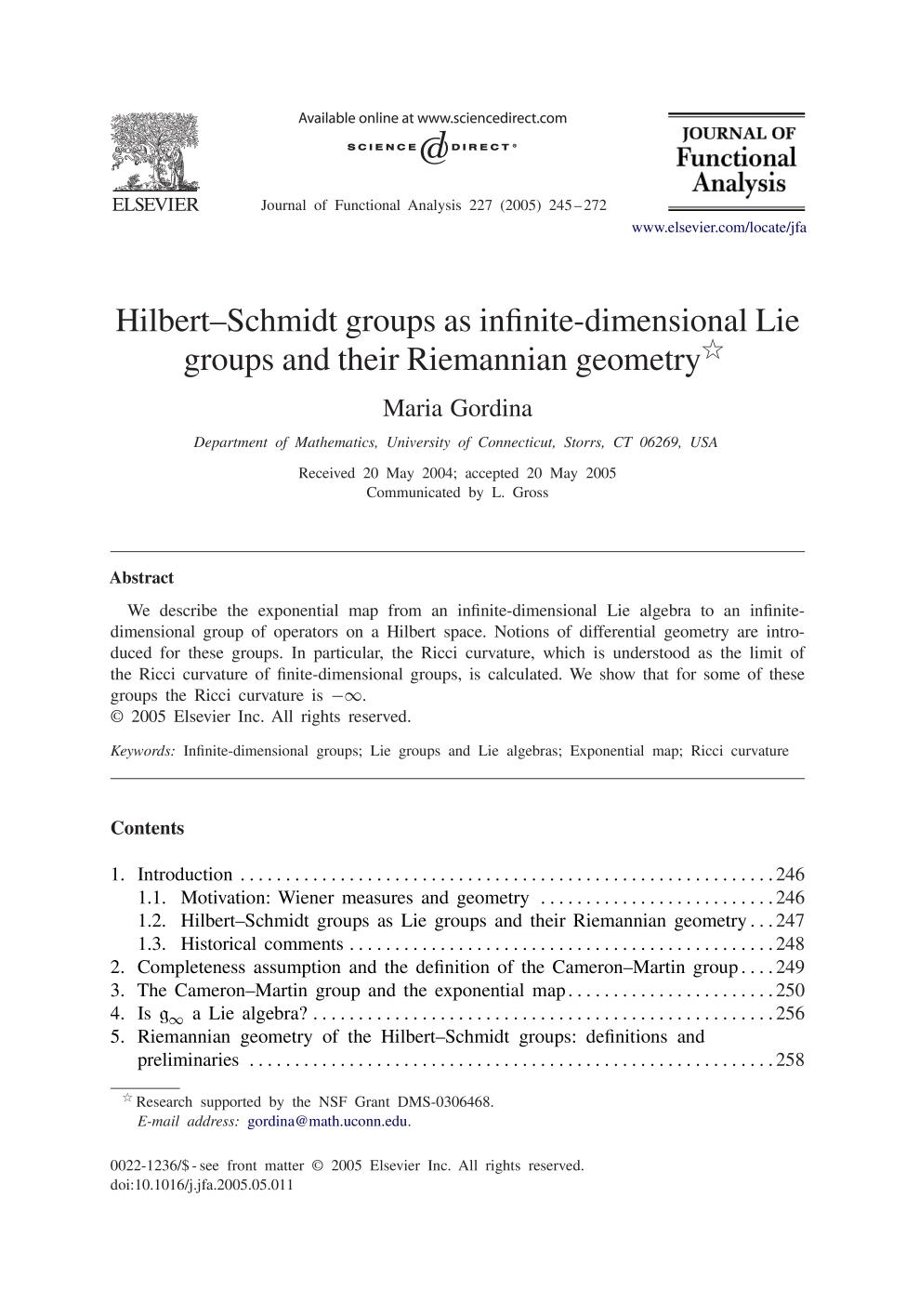 Book cover Hilbert–Schmidt groups as infinite-dimensional Lie groups and their Riemannian geometry
