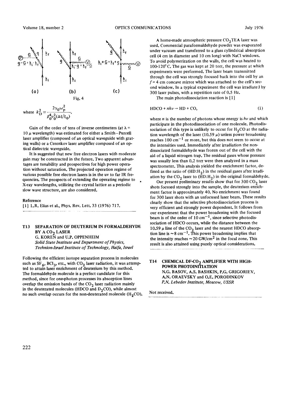 Book cover Separation of deuterium in formaldehyde by a CO2 laser
