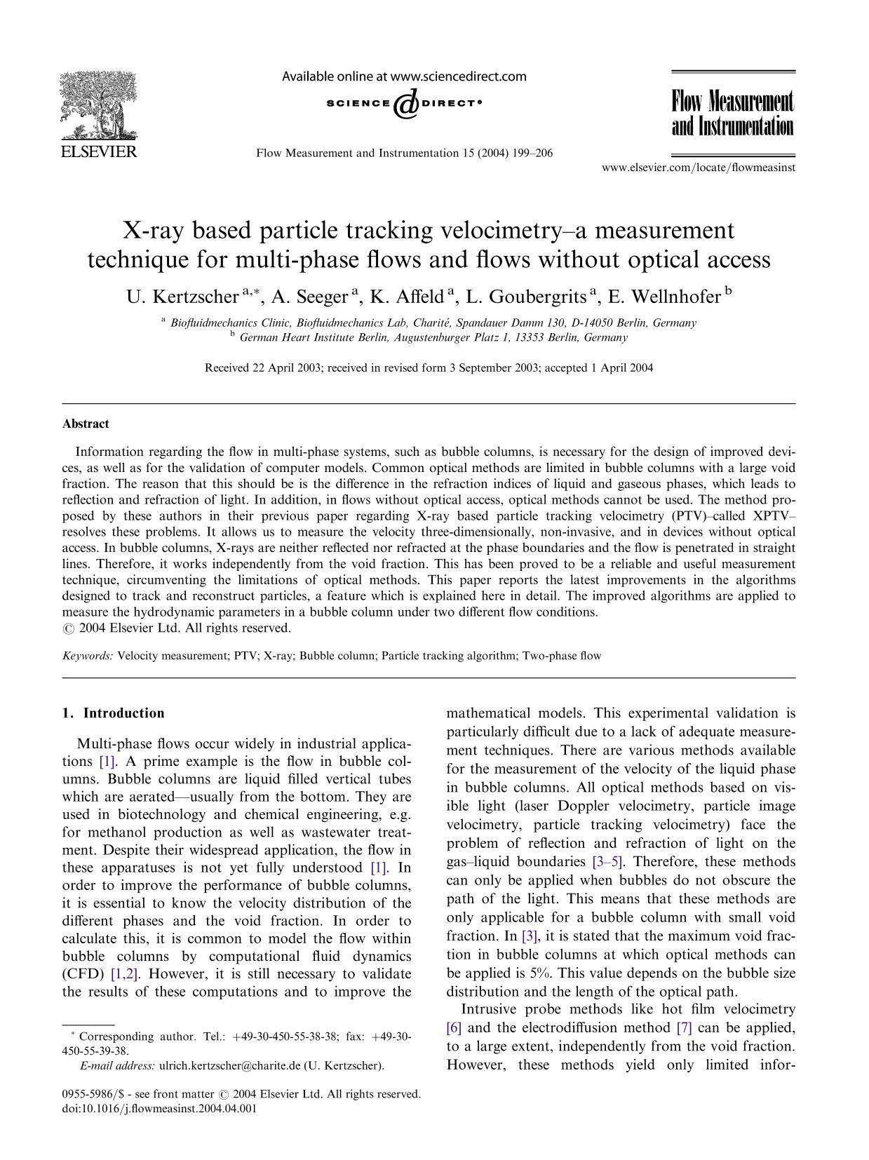 Book cover X-ray based particle tracking velocimetry–a measurement technique for multi-phase flows and flows without optical access