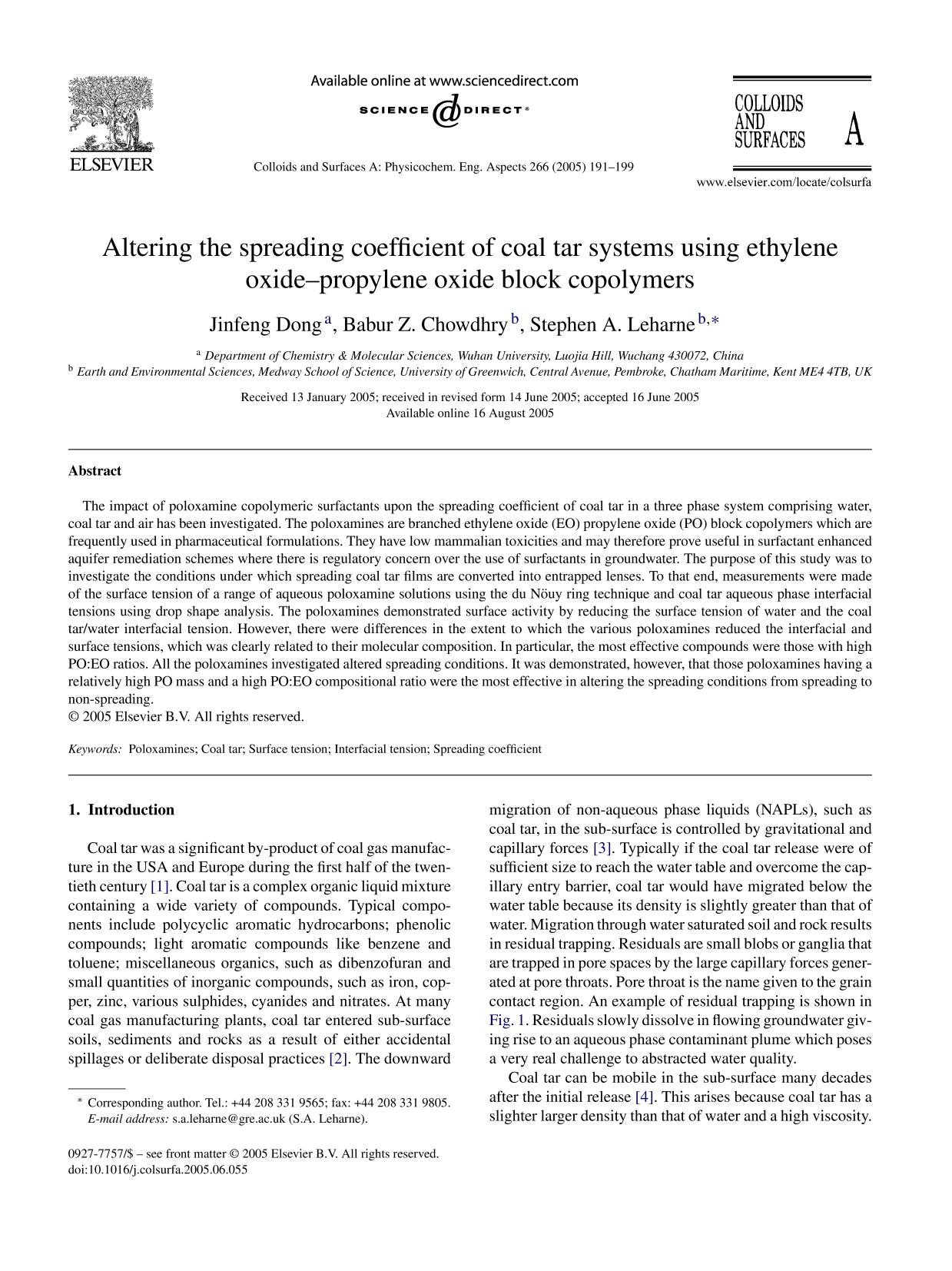 Обкладинка книги Altering the spreading coefficient of coal tar systems using ethylene oxide–propylene oxide block copolymers