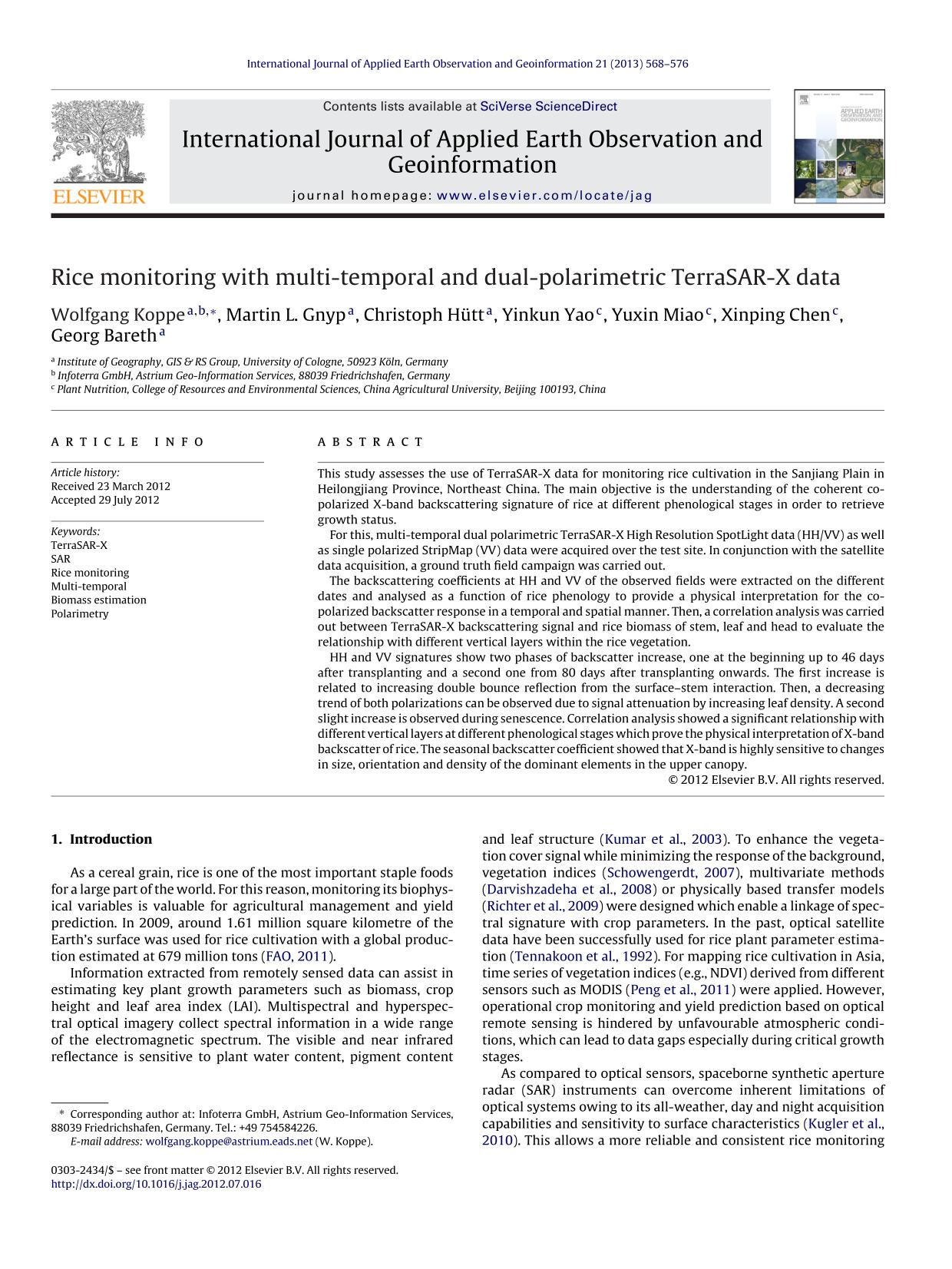Book cover Rice monitoring with multi-temporal and dual-polarimetric TerraSAR-X data