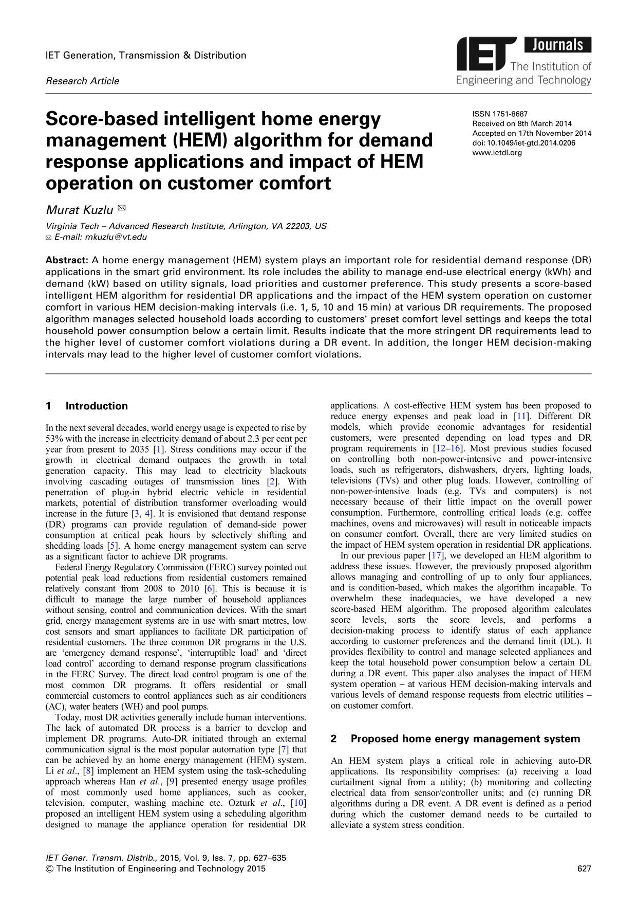 Book cover Score-based intelligent home energy management (HEM) algorithm for demand response applications and impact of HEM operation on customer comfort