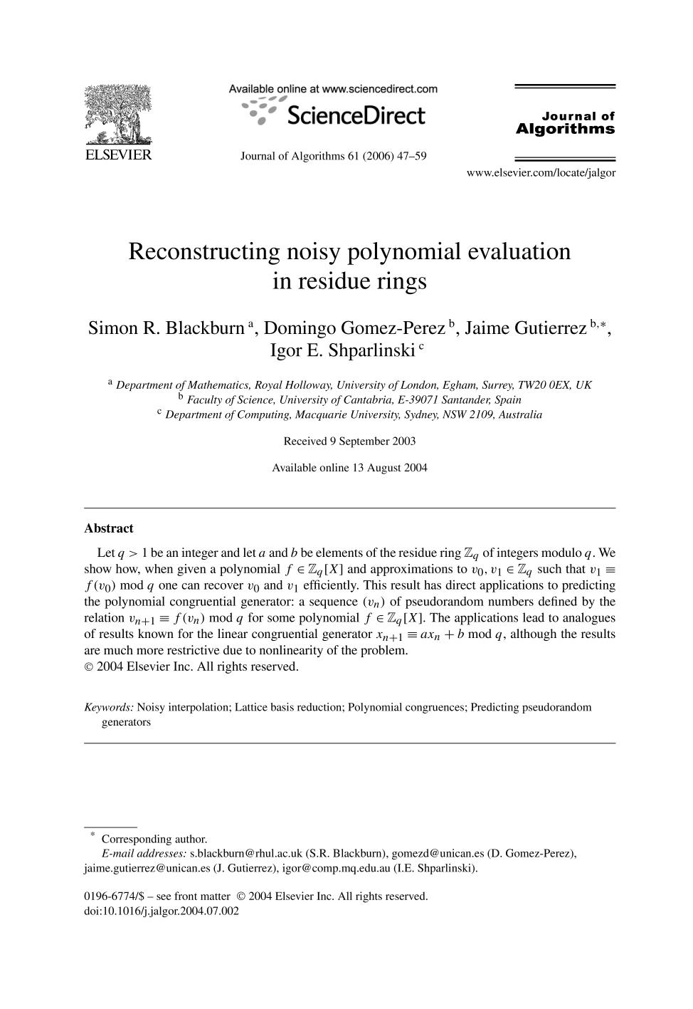 Book cover Reconstructing noisy polynomial evaluation in residue rings