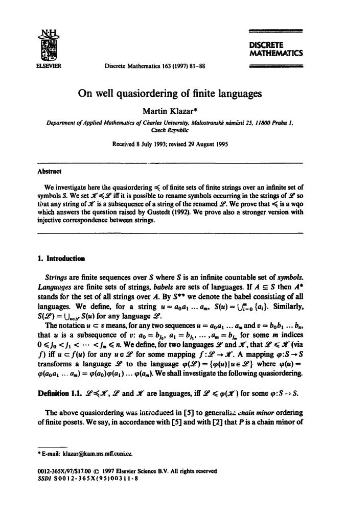 Book cover On well quaasiordering of finite languages