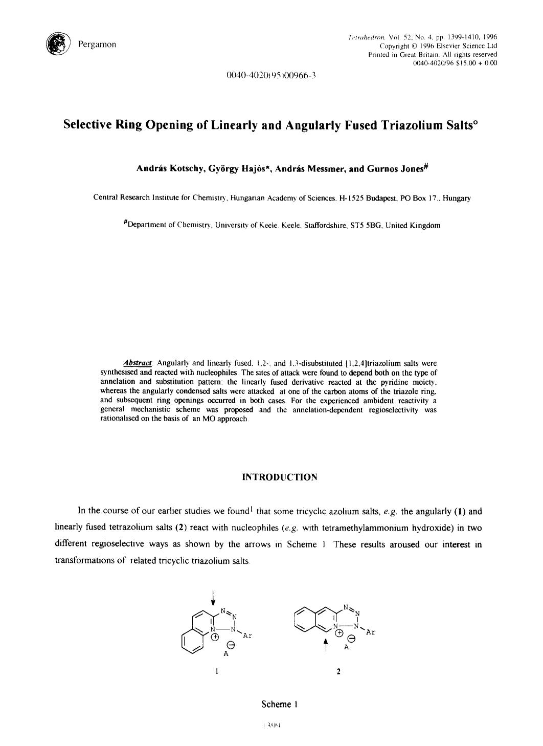 Book cover Selective ring opening of linearly and angularly fused triazolium salts