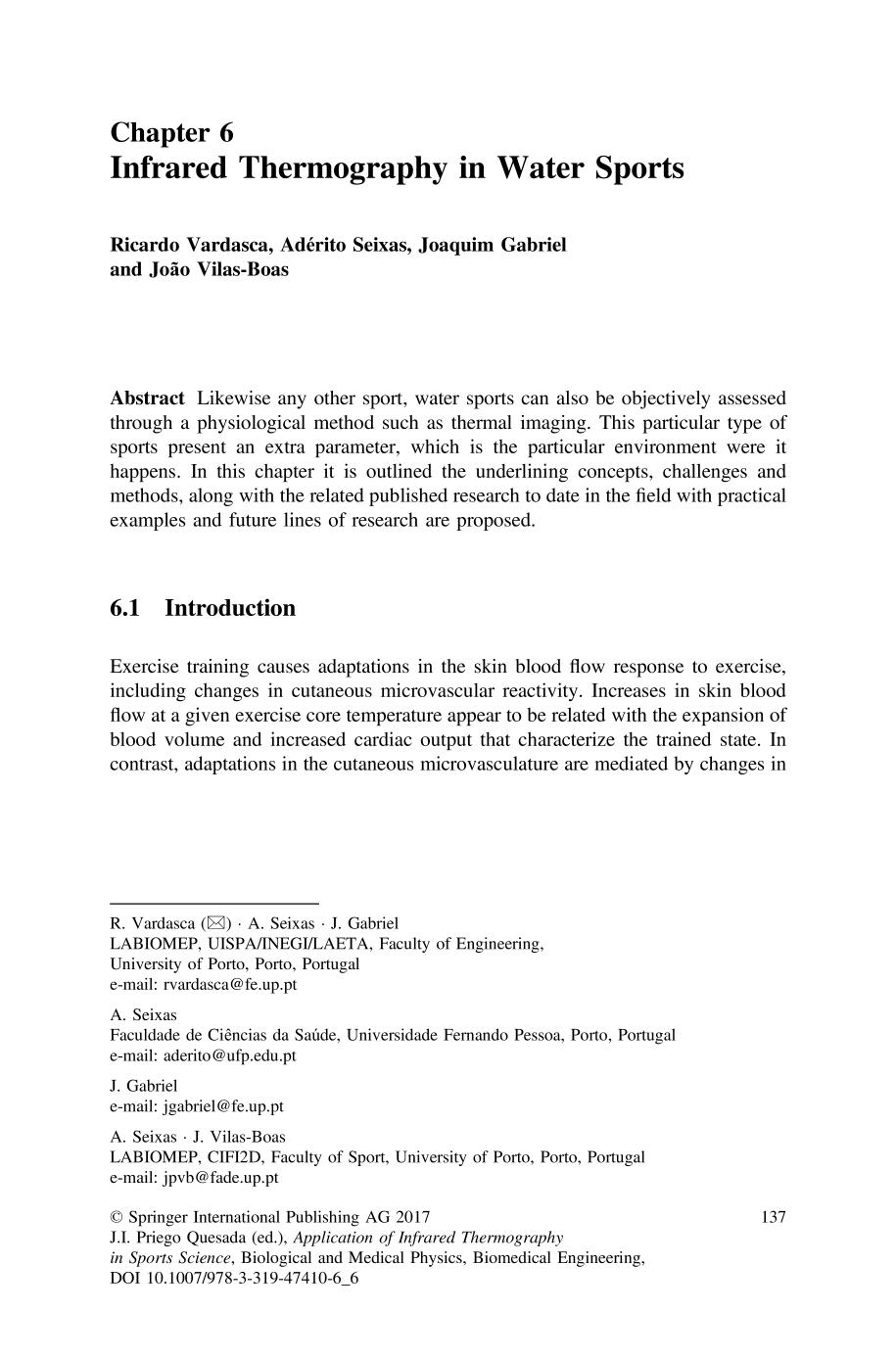 Book cover [Biological and Medical Physics, Biomedical Engineering] Application of Infrared Thermography in Sports Science    Infrared Thermography in Water Sports