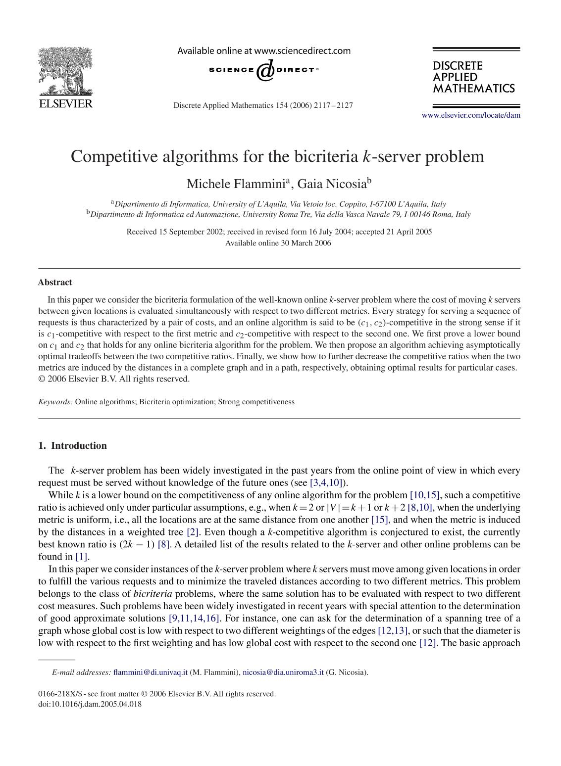 capa de livro Competitive algorithms for the bicriteria -server problem