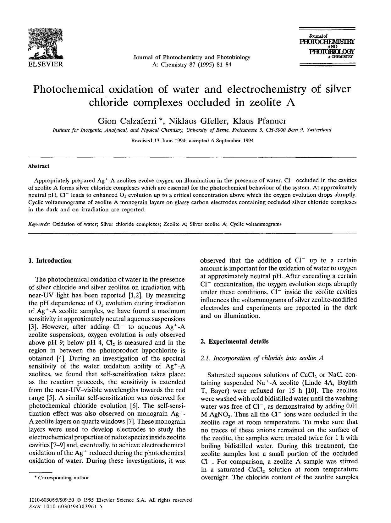Book cover Photochemical oxidation of water and electrochemistry of silver chloride complexes occluded in zeolite A