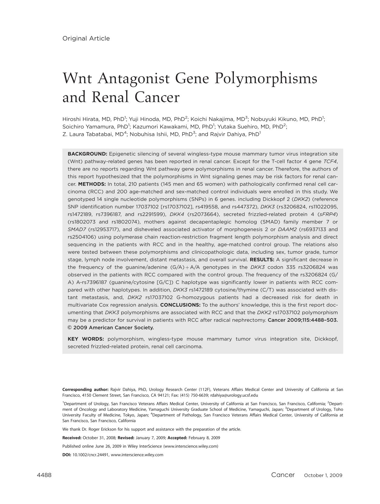 Book cover Wnt antagonist gene polymorphisms and renal cancer