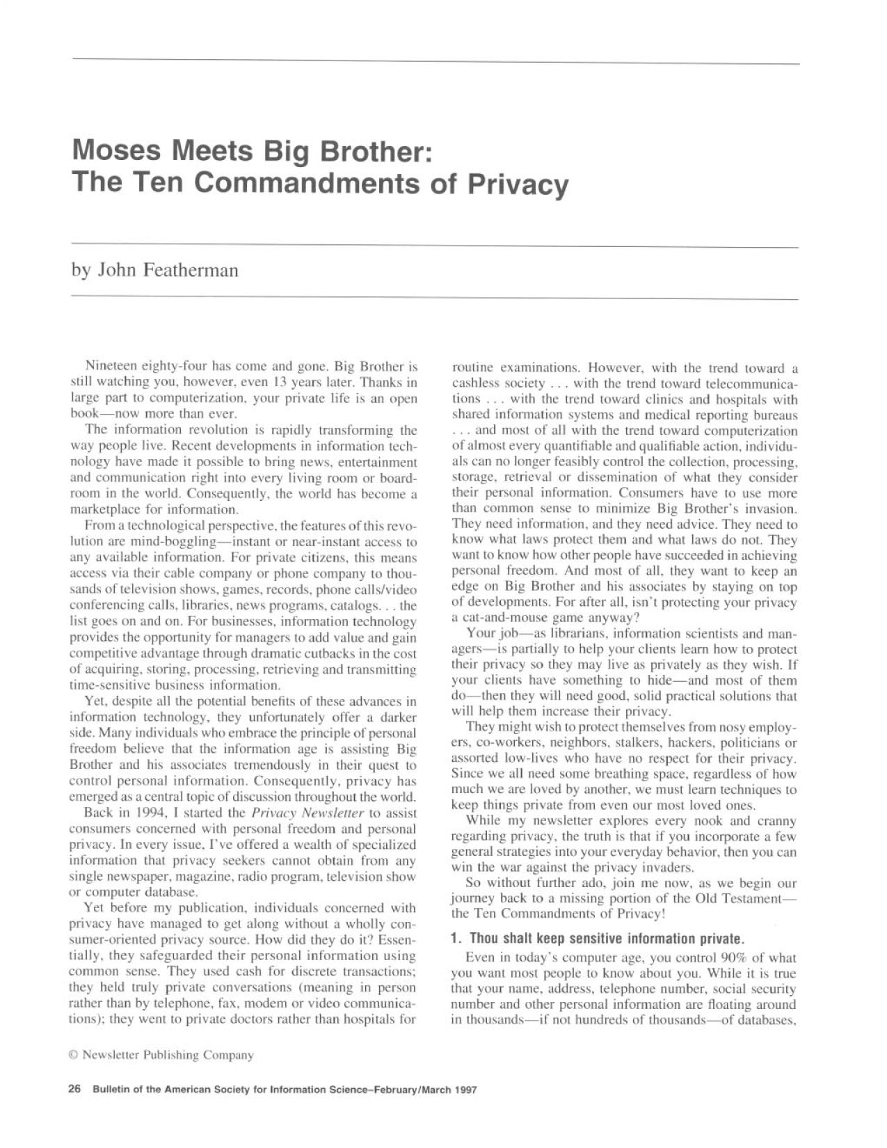 Book cover Moses Meets Big Brother: The Ten Commandments of Privacy