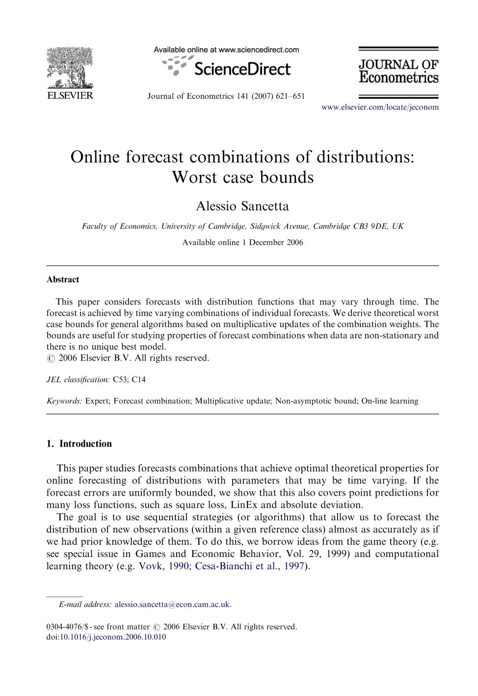 書籍の表紙 Online forecast combinations of distributions: Worst case bounds