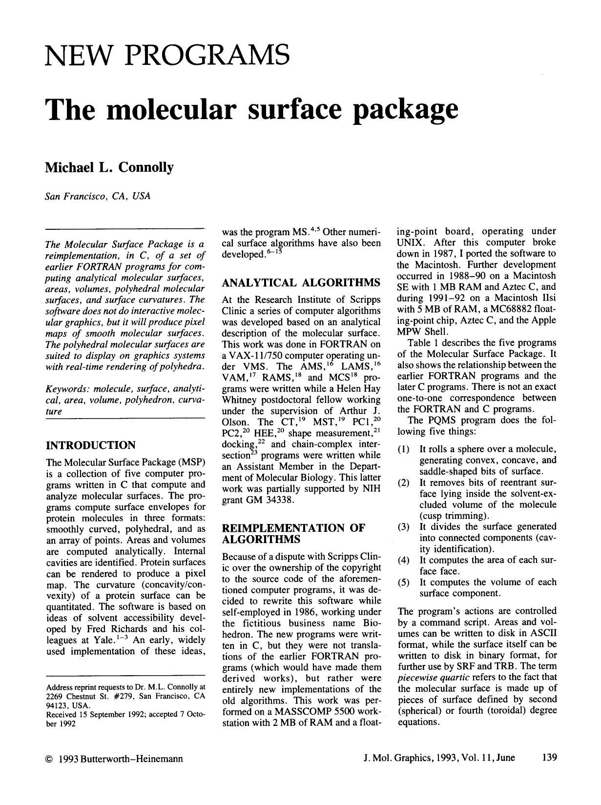 Book cover The molecular surface package