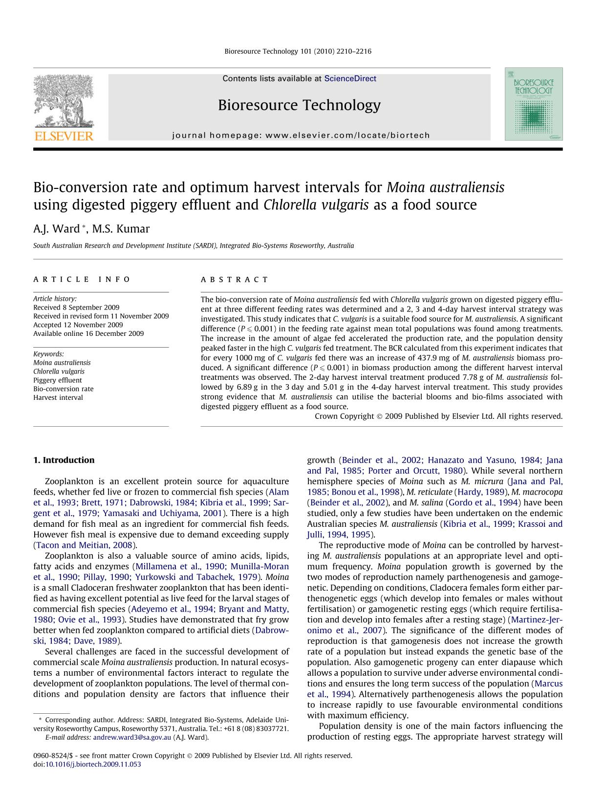 Book cover Bio-conversion rate and optimum harvest intervals for Moina australiensis using digested piggery effluent and Chlorella vulgaris as a food source