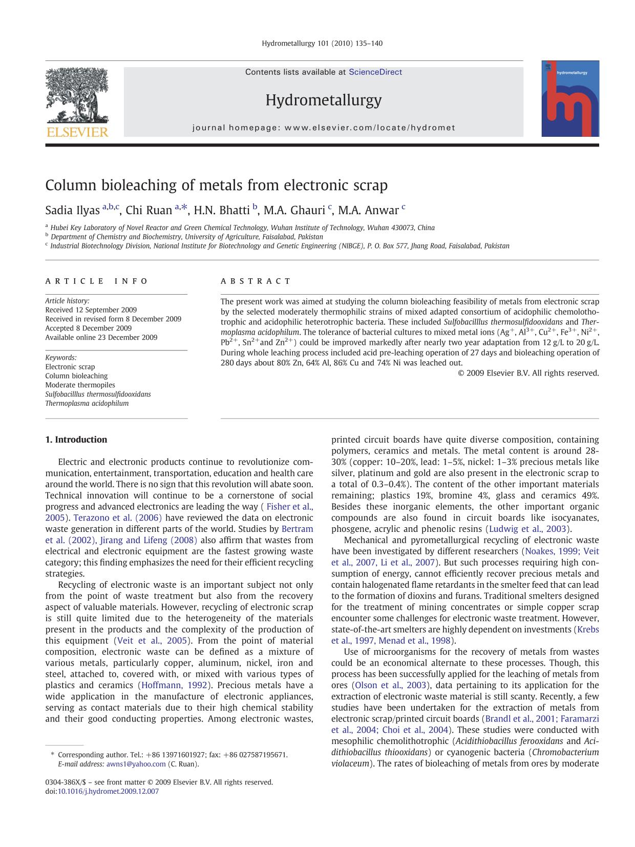 Book cover Column bioleaching of metals from electronic scrap