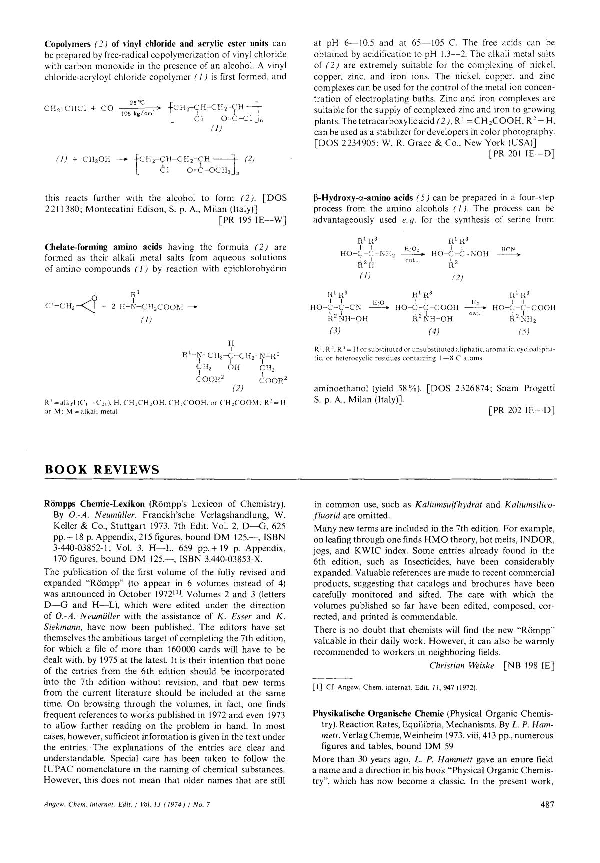 Okładka książki Book Review: Physikalische Organische Chemie (Physical Organic Chemistry). Reaction Rates, Equilibria, Mechanisms. By L. P. Hammett