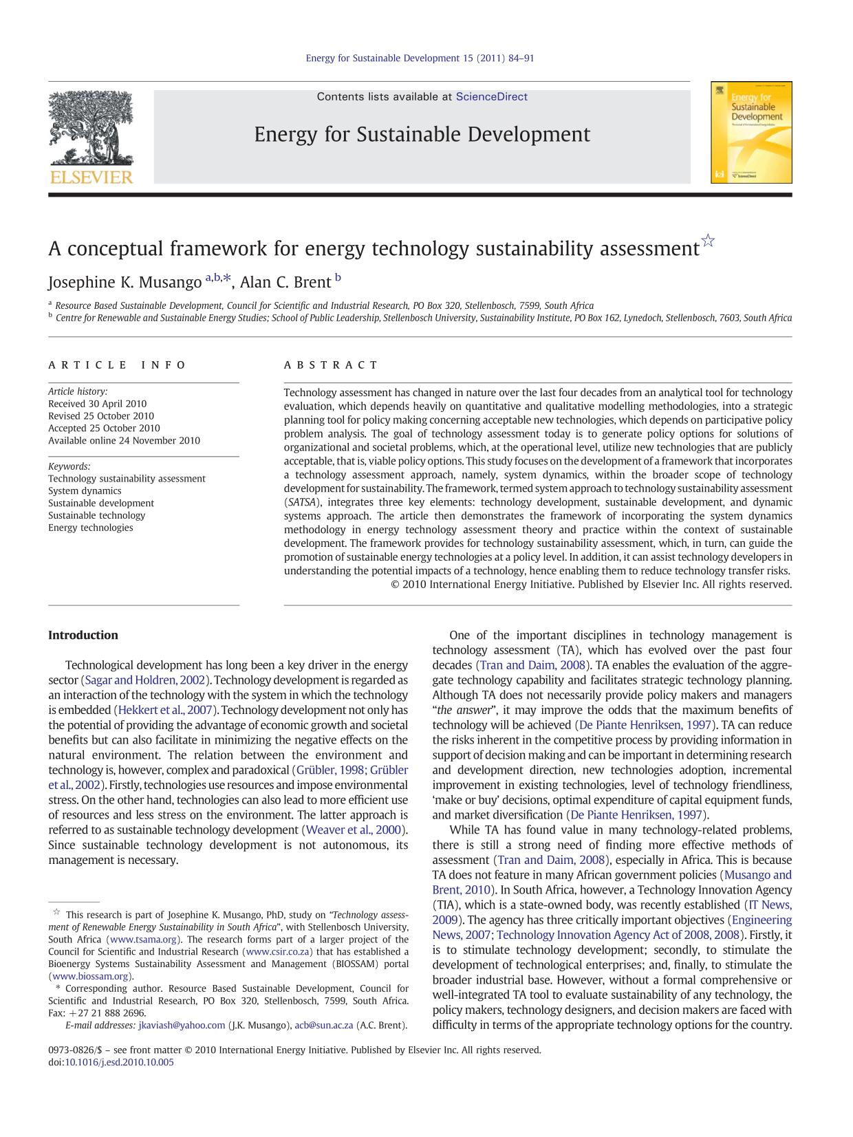 Book cover A conceptual framework for energy technology sustainability assessment
